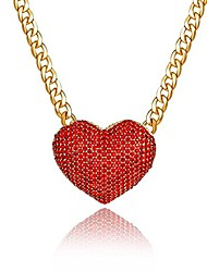 cheap -women's statement sparkly heart necklace blingbling rhinestone chunky chain necklace punk rock style costume jewelry (red)