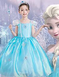 cheap -Kids Girls' Cute Graphic Mesh Print Short Sleeve Knee-length Dress Royal Blue