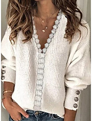 cheap -Women's Stylish Knitted Lace Trims Solid Color Pullover Long Sleeve Sweater Cardigans V Neck Fall Winter White