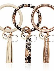 cheap -3pcs key ring bracelets wristlet keychain bangle keyring, large circle leather tassel bracelet holder gift for women/girls (white, golden, snakeskin)