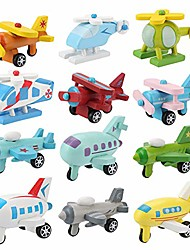 cheap -12pcs car toys set, wooden baby toy airplane set, educational preschool toys traffic construction trucks military themed fighter jets airplane toy for toddler boys