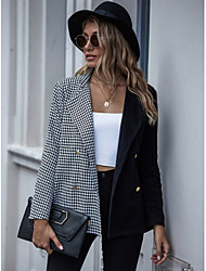 cheap -Women's Trench Coat Houndstooth Patchwork Streetwear Rayon Going out Asian Size Coat Tops Black