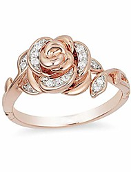 cheap -rose flower diamond ring, small dainty cz simulated diamond ring 18k rose gold plated flower ring minimalist personalized ring for women (size:8)