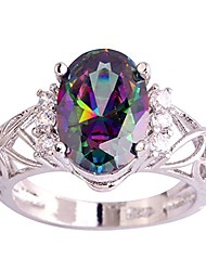 cheap -925 sterling silver created rainbow topaz filled floral anniversary ring size 6