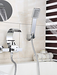 cheap -Bathtub Faucet - Contemporary Chrome Wall Mounted Ceramic Valve Bath Shower Mixer Taps