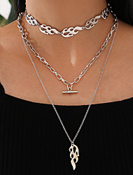 cheap -Women's Pendant Necklace Chain Necklace Retro Lucky Fashion Classic Punk Trendy Alloy Silver 48 cm Necklace Jewelry 3pcs For Party Evening Street Gift Masquerade Festival