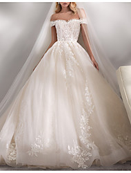 cheap -Ball Gown Wedding Dresses Off Shoulder Chapel Train Lace Tulle Short Sleeve Formal Luxurious with Appliques 2021