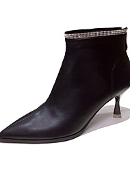 cheap -Women's Boots Stiletto Heel Pointed Toe Booties Ankle Boots Classic Daily Leather Solid Colored Black / Booties / Ankle Boots