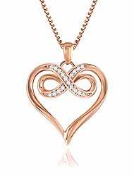 cheap -lover heart pendant necklaces for women, 14k rose gold and white gold 5a cubic zirconia necklace fashion jewelry for mom girlfriend wife(rose gold)