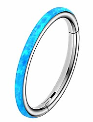 cheap -synthetic white/pink/blue opal hinged segment hoop 316l stainless steel cartilage helix lobe earrings tragus conch piercing jewelry
