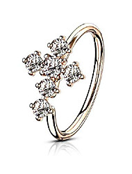 cheap -20g 8mm rose gold ip plated brass bendable nose ring & cartilage hoop featuring cz lined cross top
