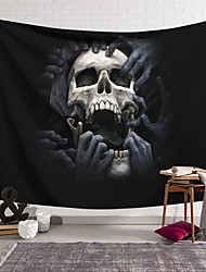 cheap -Wall Tapestry Art Decor Blanket Curtain Hanging Home Bedroom Living Room Decoration Polyester Fiber Still Life Weird Skull Black And White Hand Ripped