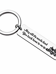 cheap -truck driver gifts key chain may all the roads lead you back home to me keychain couple gifts for him long distance relationship gift for trucker