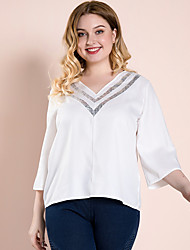 cheap -Women's Plus Size Blouse Plain Sequins V Neck Tops Streetwear Basic Top