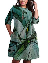 cheap -Women's Shift Dress Knee Length Dress - 3/4 Length Sleeve Print Print Spring Fall Plus Size Casual 2021 Green XXL 3XL 4XL 5XL 6XL