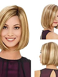 "cheap -seyada 14"" bob wigs short straight synthetic hair full wigs for women natural looking heat resistant (blonde)"