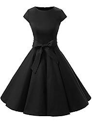 cheap -ladies vintage 50s cap sleeves dot solid color rockabilly swing dresses xs black