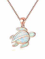 cheap -white opal necklace turtle pendant necklace for women girls 14k rose gold plated sea animal pendant ocean necklace
