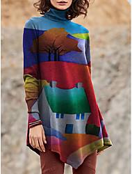 cheap -Women's T Shirt Dress Tee Dress Short Mini Dress Blue Purple Red Yellow Green Long Sleeve Floral Print Color Block Patchwork Print Fall Winter Turtleneck Casual 2021 S M L XL XXL 3XL 4XL 5XL