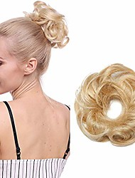 cheap -synthetic hair scrunchies for women curly messy buns updo hair pieces [#613 bleach blonde] one piece hair extension chignon robbon ponytail wavy (23g)