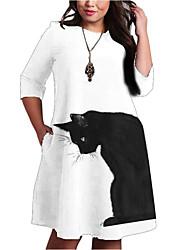 cheap -Women's A-Line Dress Knee Length Dress Half Sleeve Striped Animal Pocket Patchwork Print Fall Spring Plus Size Casual 2021 White XXL 3XL 4XL 5XL 6XL