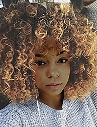 cheap -synthetic african american wigs fluffy kinky hair wig with bangs brown blonde mixed wig short curly wigs for black women heat resistant fiber afro wavy wigs 12'' (gold)