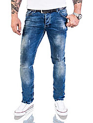 cheap -designer men's jeans trousers stretch jeans trousers basic slim fit [rc-2113 - denim blue - w40 l32]