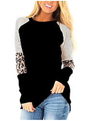 cheap -Women's Plus Size Tops T shirt Patchwork Striped Large Size Round Neck Long Sleeve Big Size