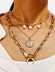 cheap -Women's Men's Statement Necklace Layered Necklace Double Layered Crescent Moon Statement Fashion Punk Trendy Imitation Pearl Gold Plated Gold 35-45 cm Necklace Jewelry 1pc For Party Evening Gift Prom