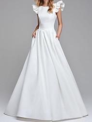cheap -A-Line Wedding Dresses Jewel Neck Floor Length Satin Sleeveless Simple Backless with 2021