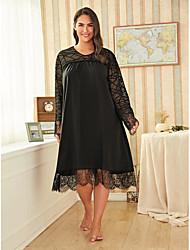cheap -Women's Plus Size Print Lace Casual Long Sleeve Spring & Summer Midi Dress Swing Dress / Loose