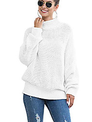 cheap -women winter pullover sweater oversized tops high neck long sleeve knitted sweaters white s