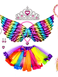cheap -Princess Cosplay Costume Halloween Props Costume Girls' Movie Cosplay Tutus & Skirts Stage Props Purple / Fuchsia Skirts Wings Necklace Christmas Halloween Carnival / Headband / Gauntlets / Headwear