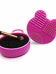 cheap -makeup brush cleaner mat, 2 in 1 brush cleaning mat, brush cleaner pad with cleaner sponge dry and wet cleaner, three functions for cleaning surface, portable cosmetic brush washing tool (rose red)