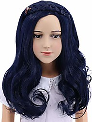 cheap -long wave cosplay wig with braid (kids)