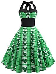 cheap -Women's A-Line Dress Short Mini Dress - Sleeveless Print Patchwork Print Spring Fall Halter Neck Elegant Formal Going out 2020 White Green Light Green S M L XL XXL