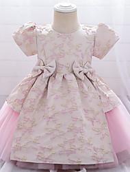 cheap -Toddler Little Girls' Dress Floral Graphic Bow Blue Blushing Pink Green Knee-length Sleeveless Cute Sweet Dresses Children's Day Slim