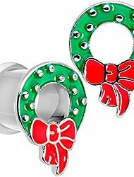 cheap -2pc 316l steel double flare tunnel plug christmas wreath ear plug gauges set of 2 0 gauge