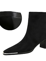 cheap -Women's Boots Chunky Heel Square Toe Booties Ankle Boots Sexy Minimalism Party & Evening Suede Solid Colored Black / Red Black / Knee High Boots