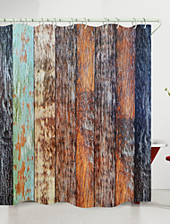 cheap -Vintage Dark Wood Planks Digital Printing Shower Curtain Shower Curtains  Hooks Modern Polyester New Design 72 Inch