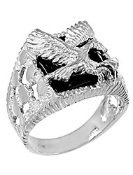cheap -men's black onyx american eagle open nugget ring in sterling silver (size 12.75)