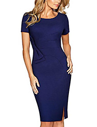 cheap -women's elegant short sleeve crew neck bodycon business dress b427 (uk 14 = size xl, dark blue)