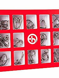 cheap -puzzle game 15 pieces puzzle games for children and adults metal puzzles 3d puzzle iq game set brainteaser games puzzle with flannel storage bag