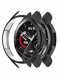 cheap -cases compatible with huawei honor watch gs pro case, pc plated protective case protector cover armor shell for honor watch gs po only (black)