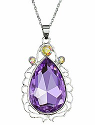 cheap -sofia necklace amulet teardrop amethyst pendant necklace sofia princess costumes jewelry girls necklace (purple) s3