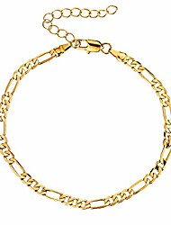 cheap -18k gold plated figaro chain anklet for women fashion ankle bracelet with extension (figaro chain)
