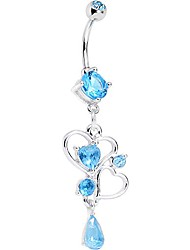 cheap -stainless steel brilliant blue accent last drops of love heart dangle belly ring