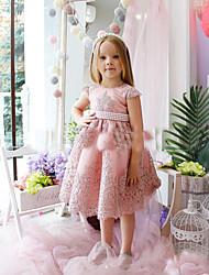 cheap -Princess / A-Line Tea Length Party / Birthday Flower Girl Dresses - Lace / Satin Cap Sleeve Jewel Neck with Appliques