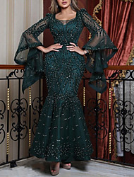 cheap -Women's Trumpet / Mermaid Dress Maxi long Dress - Long Sleeve Solid Color Floral Mesh Spring Fall Sexy Party vacation dresses Slim 2020 Green S M L XL XXL