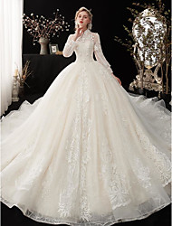cheap -Ball Gown Wedding Dresses Jewel Neck Court Train Lace Tulle Long Sleeve Country Romantic with Lace Embroidery Appliques 2020
